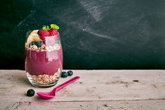 Acai berry dessert with copy space Royalty Free Stock Images