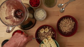 Acai Bowl Healthy Smoothie Sequence - Stock Video stock video
