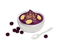 Acai bowl. Illustration of an acai bowl with granola and banana toppings royalty free illustration