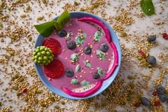 Acai bowl smoothie with chia strawberry blueberry. Seeds and pitaya dragon fruit Stock Photography