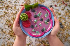 Acai bowl smoothie with chia strawberry blueberry. Seeds and pitaya dragon fruit Royalty Free Stock Image