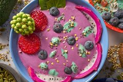 Acai bowl smoothie with chia strawberry blueberry. Seeds and pitaya dragon fruit Stock Photos