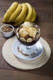 Acai bunke med glass och bananen Royaltyfria Foton