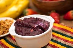 Acai-Frucht Amazonas in der Schüssel Lizenzfreie Stockbilder