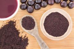 Fruit and acai powder - Euterpe oleracea Stock Images
