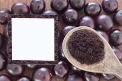 Fruit and acai powder - Euterpe oleracea Stock Image