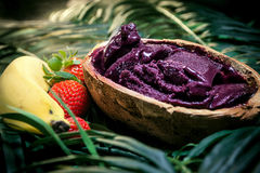 Acai in the pot. Food of the Brazilian amazon Royalty Free Stock Photography