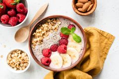 Acai smoothie bowl with superfood top view royalty free stock image