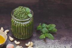 Acajoubaum, Minze und Koriander Pesto Stockfotos