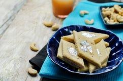 Acajoubaumfudge Kaju Katli Indische Bonbons Lizenzfreies Stockbild