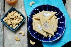 Acajoubaumfudge Kaju Katli Indische Bonbons Lizenzfreies Stockfoto