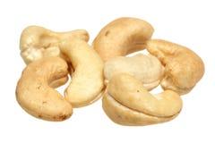 Acajounüsse auf einem weißen Hintergrund Stockfotografie
