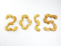 Acajounüsse guten Rutsch ins Neue Jahr 2015 Lizenzfreie Stockfotografie