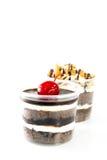 Acajounüsse Schokolade und Kirschschokoladenschale backen zusammen Lizenzfreie Stockfotos