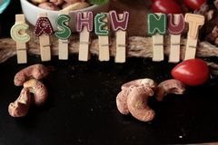 Acajounüsse sind mit Salz gebratenes köstliches Stockfotografie