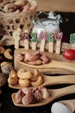 Acajounüsse sind mit Salz gebratenes köstliches Lizenzfreies Stockfoto