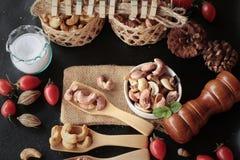 Acajounüsse sind mit Salz gebratenes köstliches Stockfoto