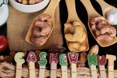 Acajounüsse sind mit Salz gebratenes köstliches Lizenzfreies Stockbild