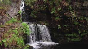Acalmando-se, acalme a cachoeira durante setembro em Escócia As águas da vida vídeos de arquivo