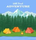 Acampamento ao ar livre Fundo da natureza com rio e floresta, ilustração do vetor da barraca do acampamento das montanhas Fotografia de Stock