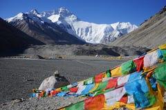 Acampamento baixo de Everest Face norte fotografia de stock royalty free