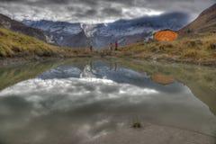 Acampamento baixo do santuário de Annapurna Fotografia de Stock