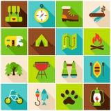 Acampamento caminhando ícones coloridos ilustração stock