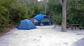 Acampamento da barraca do estilo de família Imagens de Stock Royalty Free