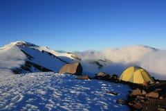 Acampamento da borda da cratera Fotografia de Stock Royalty Free