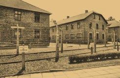 Acampamento de Auschwitz Birkenau fotografia de stock