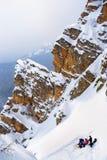 Acampamento de resto dos turistas nas montanhas Imagem de Stock