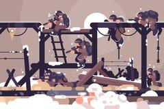 Acampamento de treino militar ilustração do vetor