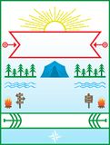 Acampamento de verão e cartaz de acampamento com beira Imagem de Stock Royalty Free