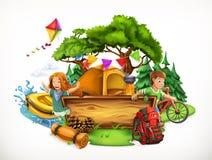 Acampamento de verão ilustração do vetor 3d ilustração stock