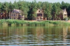 Natureza, água, rio, verão, casas Imagens de Stock Royalty Free