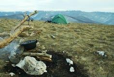 Acampamento do Hike Imagens de Stock