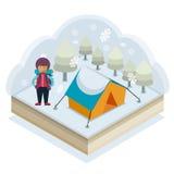 Acampamento do inverno Fotografia de Stock