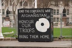 Acampamento do protesto da paz, Londres Fotos de Stock