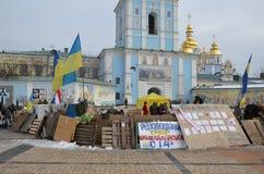 Acampamento dos protestadores na capital ucraniana Imagem de Stock
