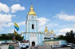 Acampamento dos protestadores na catedral ortodoxo ucraniana Foto de Stock