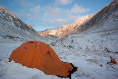 Acampamento dos turistas do inverno Foto de Stock