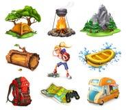Acampamento e aventura, ícones do vetor ajustados Imagem de Stock Royalty Free