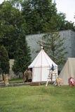 Acampamento e cavaleiros medievais Fotografia de Stock