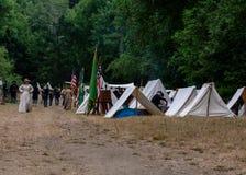 Acampamento em moinhos de Duncans, CA da união dos E.U. da guerra civil re-enactement, EUA imagens de stock