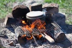 Acampamento-fogo Foto de Stock Royalty Free