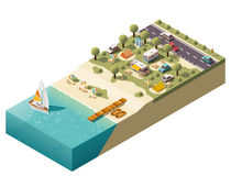 Acampamento isométrico da praia do vetor Fotos de Stock Royalty Free