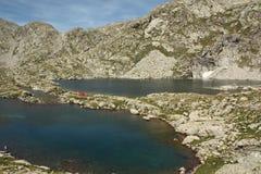 Acampamento no espanhol Pyrenees Fotos de Stock Royalty Free