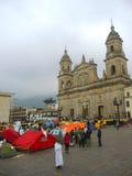 Acampamento para a paz, em Bogotá, Colômbia Fotografia de Stock Royalty Free