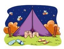 Acampamento romântico ilustração stock