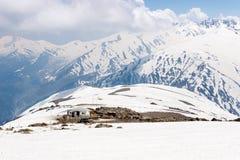 Acampando en el hielo, campo del montañés Imágenes de archivo libres de regalías